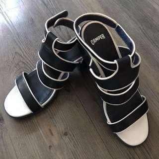 Camper Navy Blue 搭帶高踭涼鞋