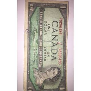 Real Canadian One Dollar Bill