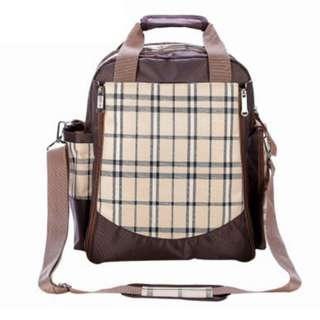 ❤ On-hand :Multifunctional Mummy Nursing/ Maternity/ Baby Changing Diaper Bag ( Checkered Brown)