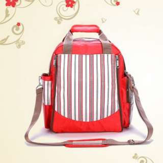 ❤ On-hand : Multifunctional Baby Changing Diaper Bag  / Mommy Nursing/ Maternity( Red Stripe)