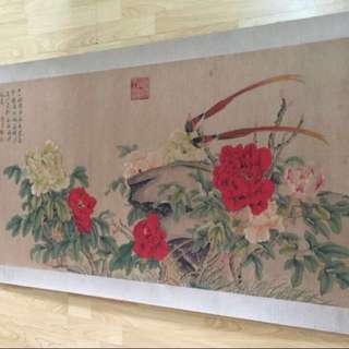 30% OFF GREAT CNY GIFT/SALE {Collectibles Item - Ancient Painting} 清朝古画 Qing Dynasty Chinese Ancient Painting On Paper -【牡丹富贵圖】 軸画長5尺3寸(158cm) 寛2尺7寸(78cm) - 惲夀平 1633年-1690年,初名格,字夀平,号南田,又号云溪外史、白云外史,武进(今江苏常州)人,清代著名画家。