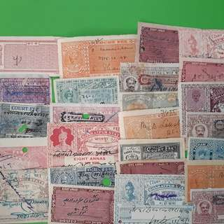 25 Stamps LOT - Native / Princely States Mixed - Court Fee Stamps ( British india period ) - Indore Mewar Bharatpur  Nabha Mysore  Kotah Jodhpur & so on.