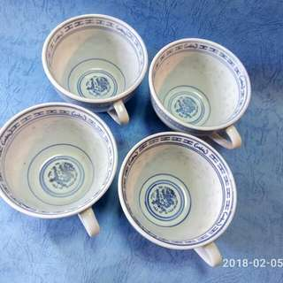 那些年,青花米通,龍心耳杯,4隻。
