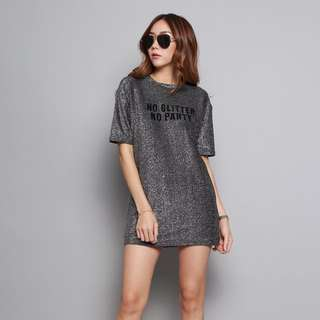"Korean dress ""no glitter no party"""