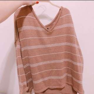 🚚 正韓/簡約條紋寬領針織上衣