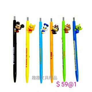 日本製 迪士尼 大鼻鋼牙 米奇 維尼熊 三眼仔 唐老鸭 立體黑色原子筆