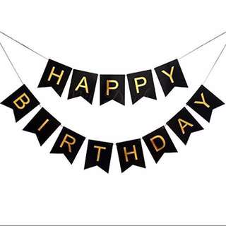 Happy Birthday Banner in black and gold