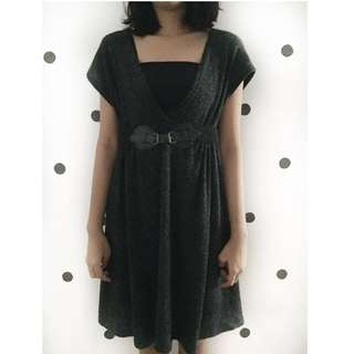Black Fluffy dress with belt