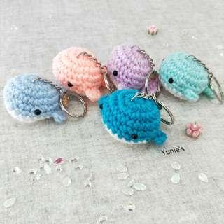 Whale amigurumi keychain with handmade charm, valentines gift