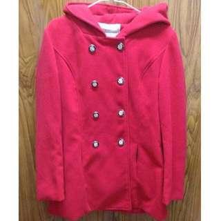 開始贈送~ 0元 二手 catworld連帽排釦風衣大衣厚外套 紅色