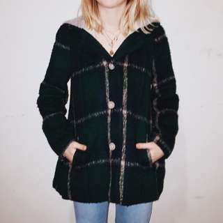Faux Wool Plaid Winter Coat