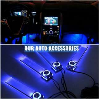 🔝 4-in-1 Car LED decorative lights with neon colours blue - atmosphere changing car neon LED