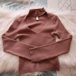 Blue Blush Pink Choker Neckline Sweater
