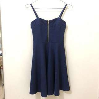 New Look - Navy Blue Bustier Zipper Dress