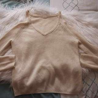 Garage Ivory Cold Shoulder Sweater