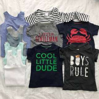 12-24 Months Kids Toddler Boy Tops Shirts Singlet Clothing Bundle Set