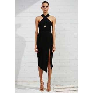 SHONA JOY Scuro Crossover Bodycon Dress in Black Size 4 / XXS RRP $280