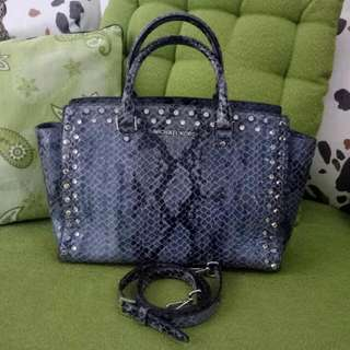 MICHAEL KORS Selma Studded Python Leather Large Satchel (Reduced Price)...