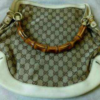 GUCCI Beige GG Canvas Bamboo Shoulder Bag (Reduced Price)...