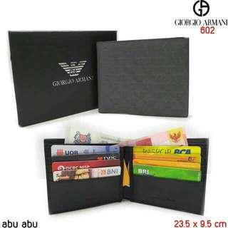 Giorgio Armani 602#1   premium, bahan kulit bagus warna Abu-abu(mirip original) 2 poket tempat kartu 8 Free box,  H 220rb
