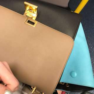 Celine trapeze tri Colour blue small size 27.5cm good condition with dust bag and card