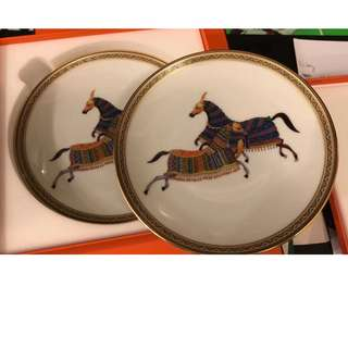 Brand New Guaranteed Authentic Hermes Cheval d'Orient Plate Set 2 Piece