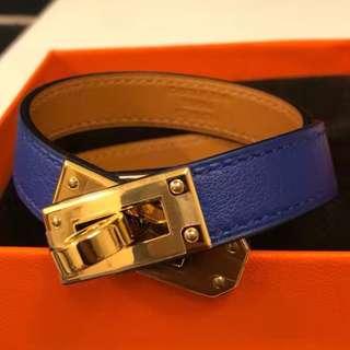 Brand New Guaranteed Authentic Hermes Kelly Double Tour Bracelet  Bleu Electrique Size T2 (S)