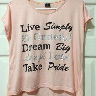 BNY Jeans Live Simply Be Grateful Dream Big Laugh Love Take Pride Motivational Pink Top