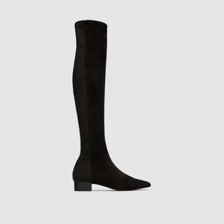 Zara Combined Flat Over-The-Knee Boots - Size US8/EUR39