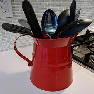 Kitchen Tool Set & Metal Storage Crock