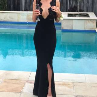 House of CB London - black bandage and lace maxi dress