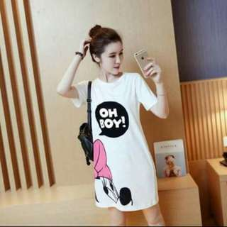 Mickey Mouse Letter Print Tee Shirt Dress