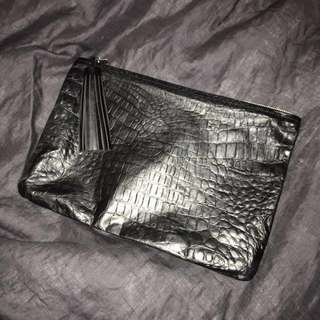 Black Embossed Leather American Apparel Clutch
