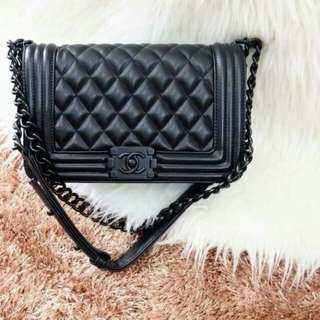 CHANEL BOY BLACK HARDWARE