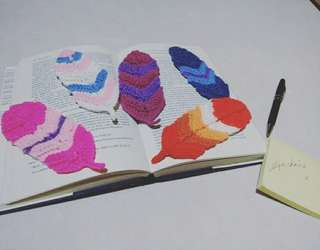 Crocheted Feather Bookmark