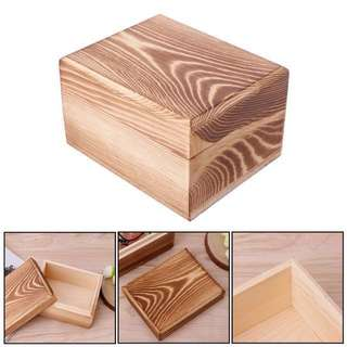 [Name Engraving Customization] Natural Wood Storage Box