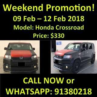 Promotion weekend! Honda Crossroad 9-12 Feb