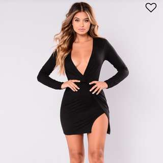 Fashion Nova Black Plunge Dress with Slit