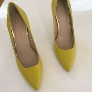 Studio W Citron Yellow Leather Pump