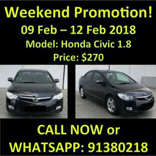 Promotion weekend Honda Civic 1.8 9-12 Feb