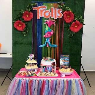 Backdrop & Cake Table Trolls Rainbow Birthday Party