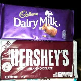 GIANT CADBURY AND HERSHEY'S CHOCOLATES