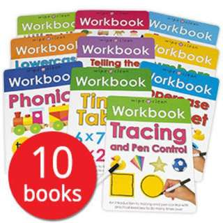 💥NEW-  Wipe-Clean Workbook Collection 10 Books Set - Preschoolers activity book