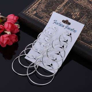 6pairs of Circle earrings