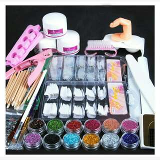 Acrylic powder glitter  false finger  pump nail  art tools set Pre order 2wek from overseas Rm60(1set)included postage  Offer!!!offer!!! Offer