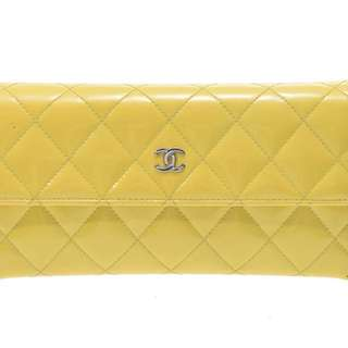 Chanel Striking Yellow Matellase long wallet