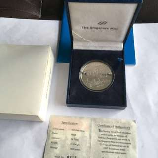 1992 25 Yrs of National Service Sterling Silver Proof Medallion
