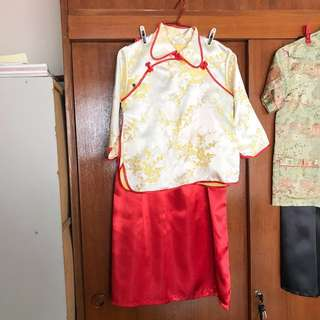 Oriental Top with red skirt