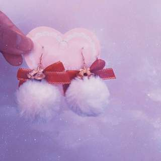 日系手作鈴鐺毛球耳環耳鉤款