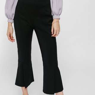 BNWT Love Bonito Fiolyn Slit Cropped Flare Pants